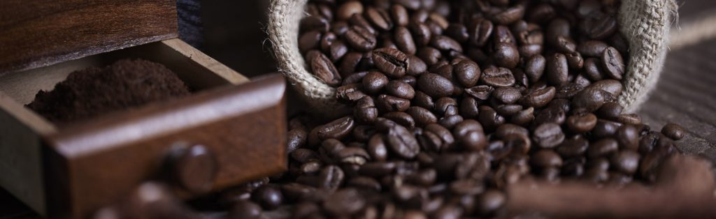 Sack of coffee bean and coffee mill